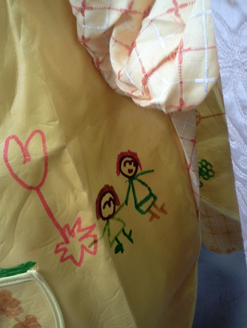 "Lilly's art smock. That's me with my ""beautiful red hair."" NBD"